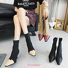 Freedom~女鞋拼接小方頭彈力襪子靴2018早春新款時裝秀場同款中跟短靴細跟女鞋
