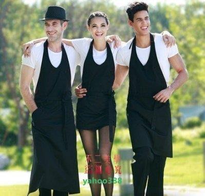 美學151男女工作圍裙咖啡西餐廳圍裙韓版廚房工作服圍裙3917❖0786