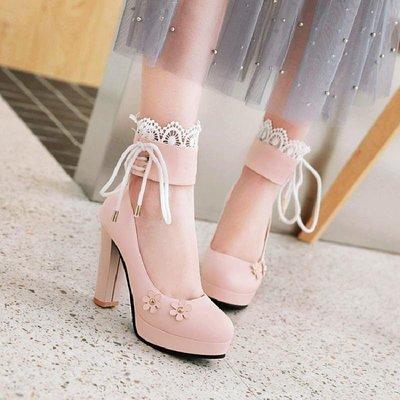 大尺碼女鞋 小尺碼女鞋 春秋單鞋女蕾絲花邊粗跟防水臺洛麗塔花朵高跟鞋甜美女鞋子大碼