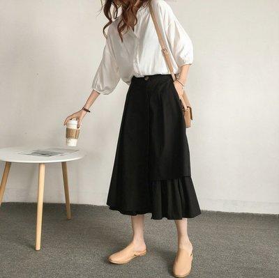 ☆Bubble Lady ☆ 【B2390】設計感 不規則拼接 一粒扣 長裙