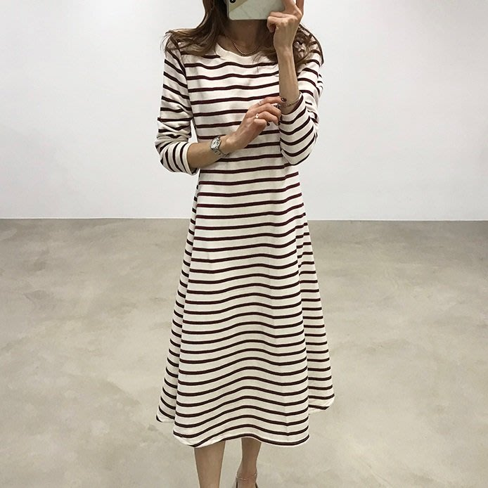 Bellee  正韓  條紋腰身傘擺棉質連身裙  (2色) 【CN102722】 預購