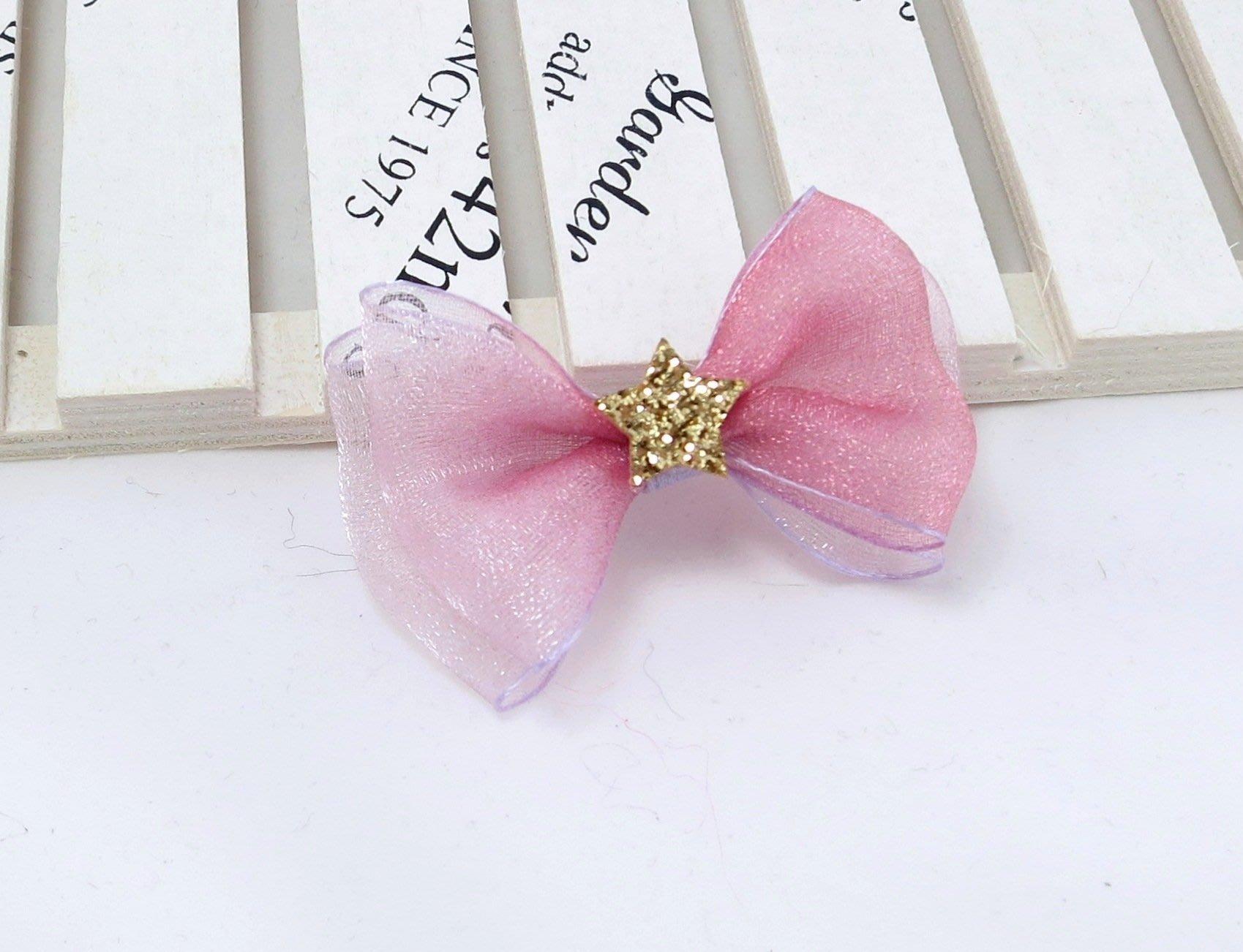 檸檬手作髮飾   紫色漸層幻紗星星小蝴蝶結髮夾/邊夾/瀏海夾/髮束