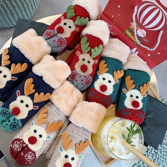 衣萊時尚-圣誕掛脖手套女冬韓版日系保暖可愛加絨ins少女軟妹學生冬天騎行