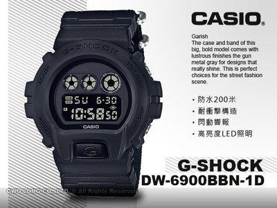 CASIO 卡西歐 國隆 手錶專賣店G-SHOCK DW-6900BBN-1D男錶_電子錶_尼龍錶帶_防水_耐衝擊構造