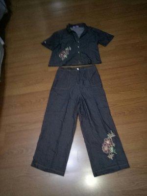 黑色整套短褲裝SIZE. XL,, 35 LEMON. LEE%棉(  櫃床花347)