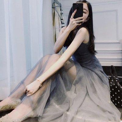 ❤My Ladies 千奈公主❤春夏新款氣質網紗無袖連身裙一字領正韓國連線【DD804239】