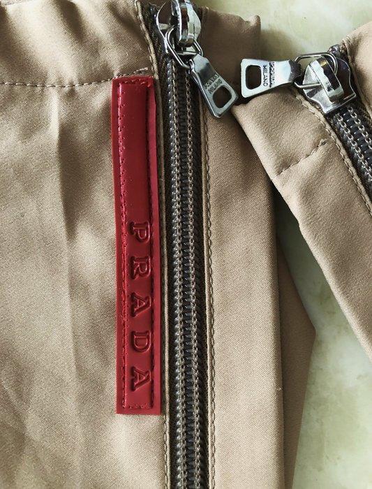 Prada 駝色機能材質兩側雙開拉鍊運動風長褲