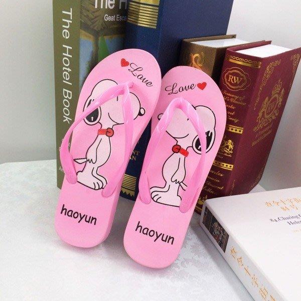 【TT】夾腳拖鞋 卡通史努比兔子人字拖 沙灘拖鞋 平底居家拖鞋