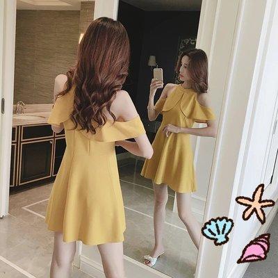 韓版氣質收腰修身顯瘦露肩飛飛袖高腰黃色連衣裙a字裙  顯瘦 宴會 約會 皆可穿 現貨