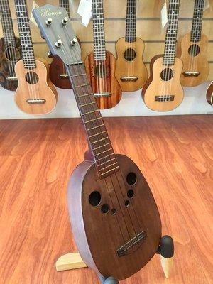 【夏威夷骨董琴】相思木單板21吋波羅桶烏克麗麗 獨特葡萄串響孔【夏威夷樂器 台南烏克麗麗專賣】