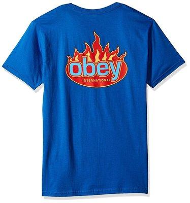 OBEY 全新 現貨 美國潮牌 Flame 短袖口袋T 皇家藍色 M 柔軟棉 厚棉 美國購入 保證正品