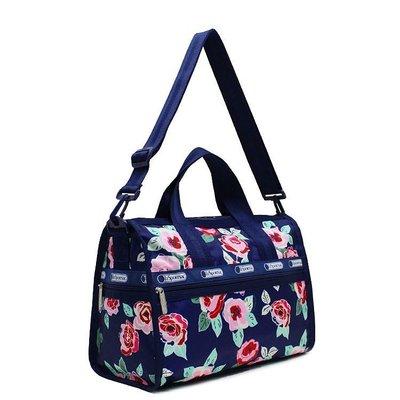 ♥ 小花日韓雜貨 ♥ -- lesportsac 7185 藍色玫瑰大號旅行袋出國出差行李包
