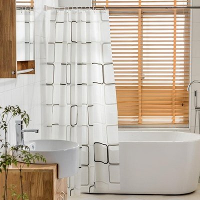 加厚浴簾套裝防水防霉浴簾布衛生間窗簾浴室隔斷簾送掛鉤