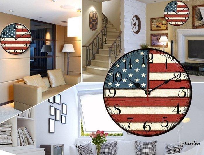 尼克卡樂斯~40cm美式復古美國旗英國旗掛鐘 靜音時鐘 復古工業風掛鐘 歐洲鄉村風時鐘 客廳時鐘 臥室時鐘 餐廳掛鐘