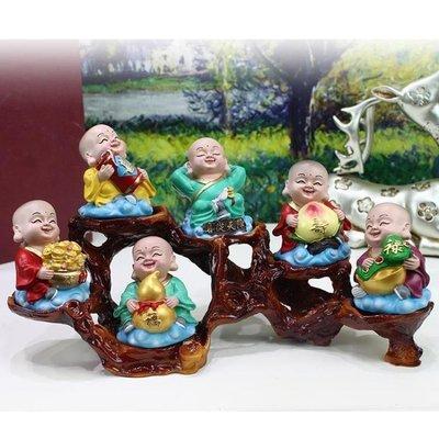小和尚擺件創意家居佛像財神可愛客廳裝飾工藝禮品酒櫃辦公桌室內