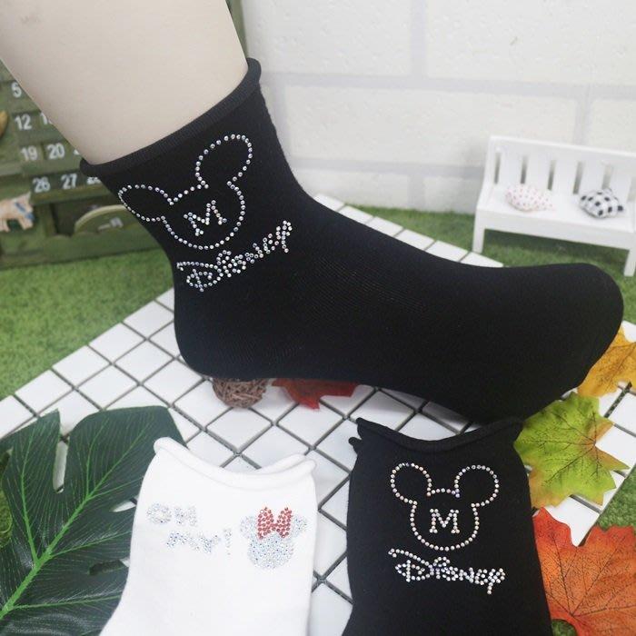 【高弟街百貨】韓國正版 迪士尼中筒襪 米奇米妮 貼鑽中筒襪 棉襪 長襪 中筒襪 素色中筒襪 襪子穿搭 女襪 百搭純棉襪