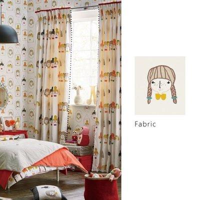 【夏法羅 傢飾】童趣‧英式塗鴉女孩刺繡窗簾布品 英國進口期貨 印花布窗簾 羅馬簾 BG-1316