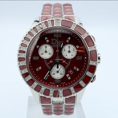 【益成當舖】流當品 原裝CD鑽錶 Christal Dior CD11431G型經典三環計時碼表 中性錶