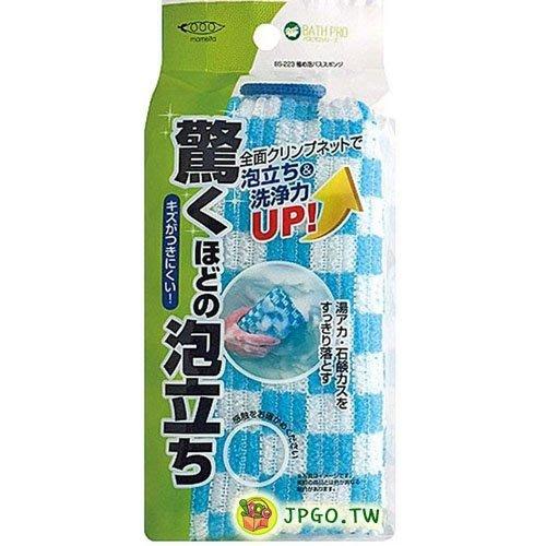 【JPGO日本購】日本進口 MAMEITA 驚人洗淨力 浴廁用 起泡式海綿刷-藍#366