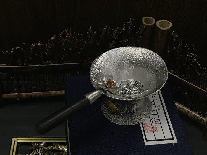 【自在坊】純錫製-黑檀木柄梅花茶漏-圓款茶濾 創意手工 禪意 茶漏 過濾網 茶具配件 茶道