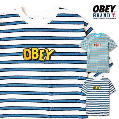 【Brand T】OBEY  JUMBLED TEE 條紋 刺繡 字體 LOGO 短袖 T恤 短T 滑板 2色