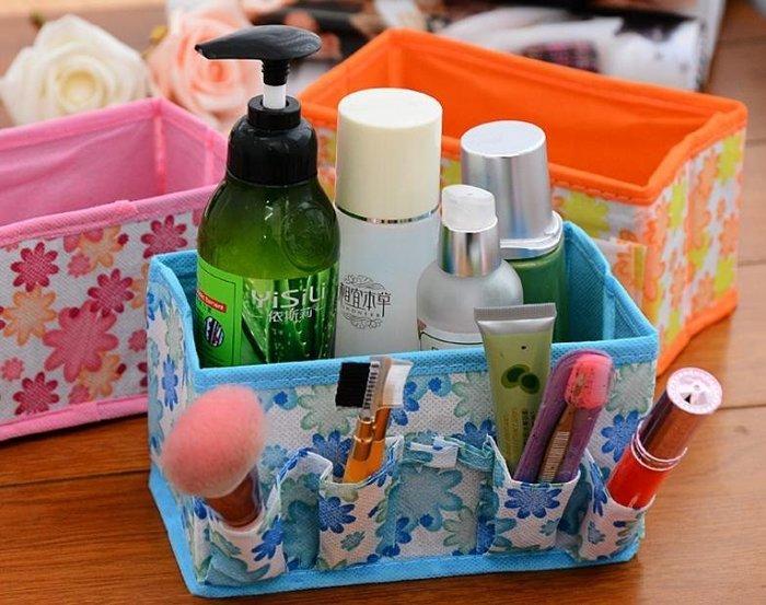 =吉米生活館= 花朵桌面收納盒 花朵化妝品收納盒 小花不織布收納盒 雜物盒 多用途可折疊置物盒 收納盒 整理袋 儲物盒