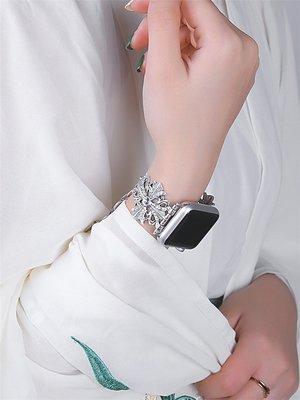 熱賣Apple Watch 4 復古民族風雕花鏤空鑲鑽不鏽鋼錶帶 iWatch 38 44mm 佩戴舒適 替換腕帶