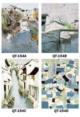 三幅一組油畫布 屋型抽象 畫芯/畫布/30X40☺暖暖屋☺傢居藝術館