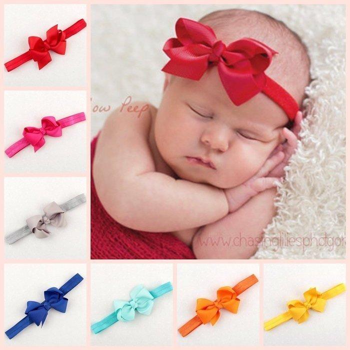 HM嬰幼館【Q244】 2015新款歐美兒童髮帶新生兒嬰兒寶寶髮帶女童女寶公主滿月百日週歲拍照攝影造型/蝴蝶結髮帶