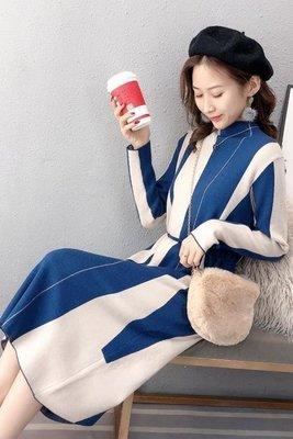 日和生活館 毛衣連衣裙寬鬆針織毛衣連衣裙女氣質中長過膝半高領顯瘦S686