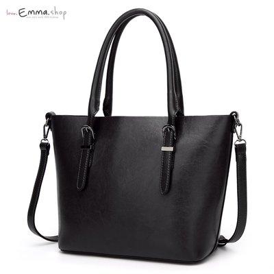 EmmaShop歐美時尚經典油蠟皮革公事托特包/側背包/肩背包/黑色托特包尼龍媽媽包把手方包