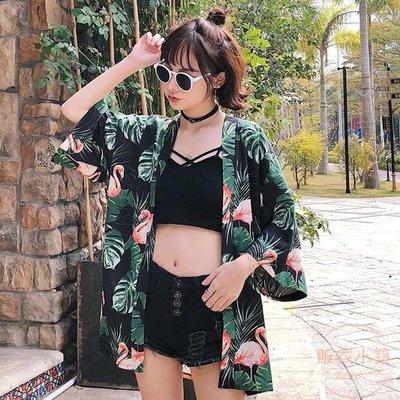 新款女裝韓版復古花朵和服防曬衣開衫寬鬆中長款薄款外套學生   全館免運