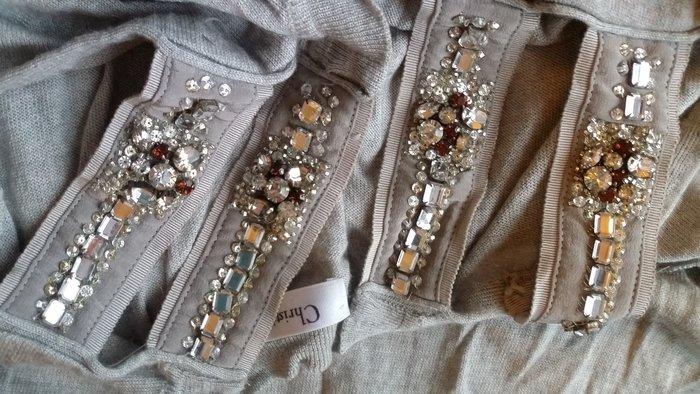 Christian Dior CD迪奧DIOR重工珠寶水鑽雙肩帶落肩露肩灰色長上衣
