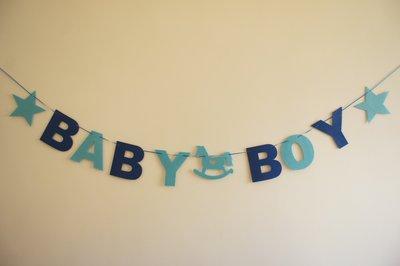 BABY BOY 男寶寶 生日派對 慶生佈置 寶寶生日  不織布  HAPPY BIRTHDAY 大款現貨 已穿線