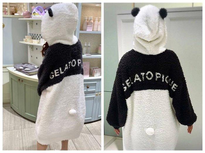 陽光角落~軟綿綿 熊貓配色  保暖  連帽長上衣 帽T 寬鬆連身衣