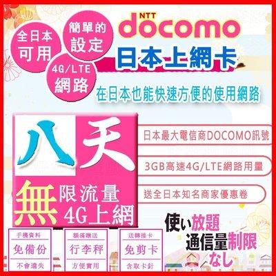 *日本好好玩 超商免運費*8天 日本上網 4G吃到飽 送行李秤 DOCOMO 日本上網卡 日本 網卡 SIM卡 電話卡