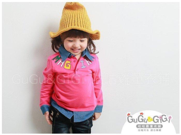 【RG2101507】秋冬款~MAGIAN牛仔領假兩件桃粉色上衣$99