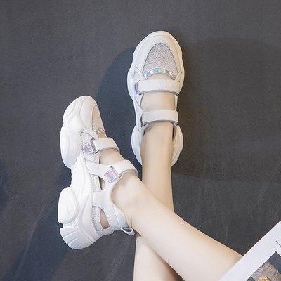 『真皮世家』魔術貼涼鞋新款厚底百搭網紅包頭仙女網面網紗運動老爹鞋潮