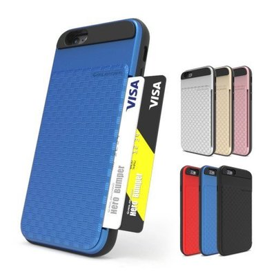 韓國 HR 防摔側插卡夾 手機殼│iPhone 6 6S 7 8 Plus X XS MAX XR│z7647