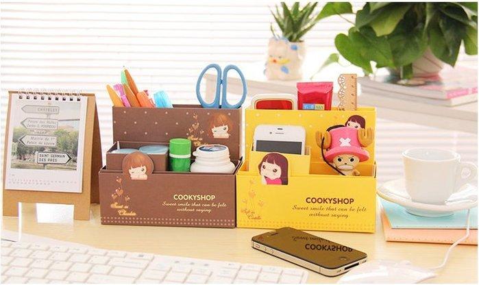 【批貨達人】韓版創意可愛女孩四格收納盒 DIY筆筒
