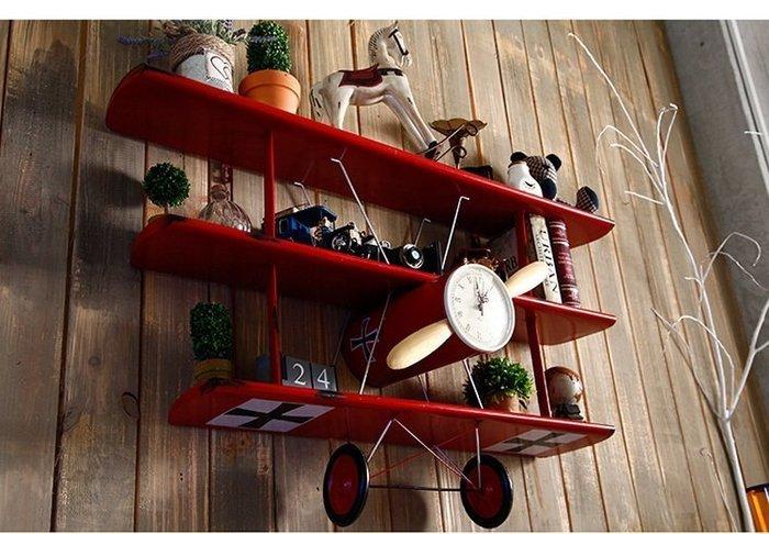 複古鐵藝雙翼飛機模型壁飾掛物架歐式田園地中海家居裝飾創意飾品*Vesta 維斯塔*