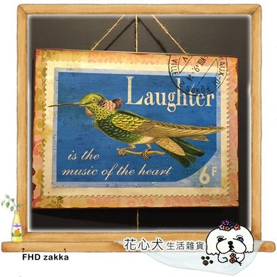 [FHD zakka 花心犬*瘋雜貨] 美式復古鐵皮畫 作舊鐵製小鳥郵戳掛飾 開店櫥窗擺件 餐廳民宿 拍照背景道具