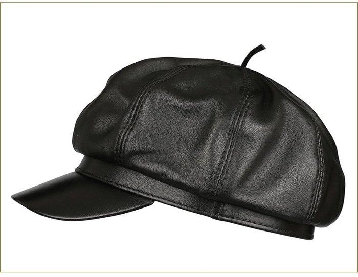 NYCT 韓國熱賣限定原創 高品質 歐美韓星百搭時尚必備款明星同款皮帽子女男士通用冬季保暖休閒八角帽女畫家帽子女