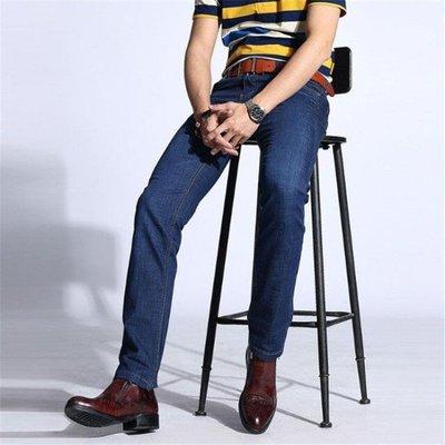 男牛仔褲直筒男裝商務休閒輕薄透氣彈力修身長褲子t675