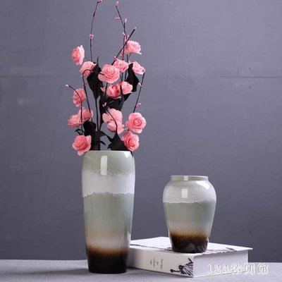 花瓶 粗陶陶罐新中式復古花插干花花藝陶瓷擺件 大號瓷插花器LB19357