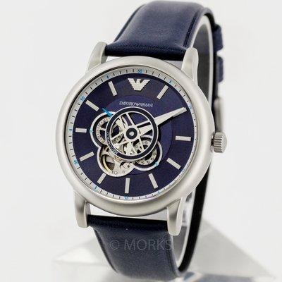 現貨 可自取 EMPORIO ARMANI AR60011 亞曼尼 手錶 43mm 鏤空機械錶 藍色皮錶帶 男錶女錶