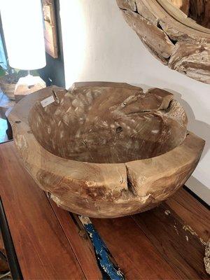 柚木花器碗飾品籃-Whitewash Bowl
