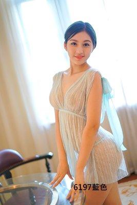 藍綠色蕾絲薄紗深V性感睡衣 甜蜜心跳 制服誘惑 角色扮演 三色 6197