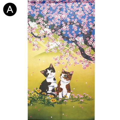 Vintage+。復古家。日本製和風系列。櫻花鬱金香貓咪穿桿印花整片式風水簾中間分開長門簾(85*150cm)(特價)