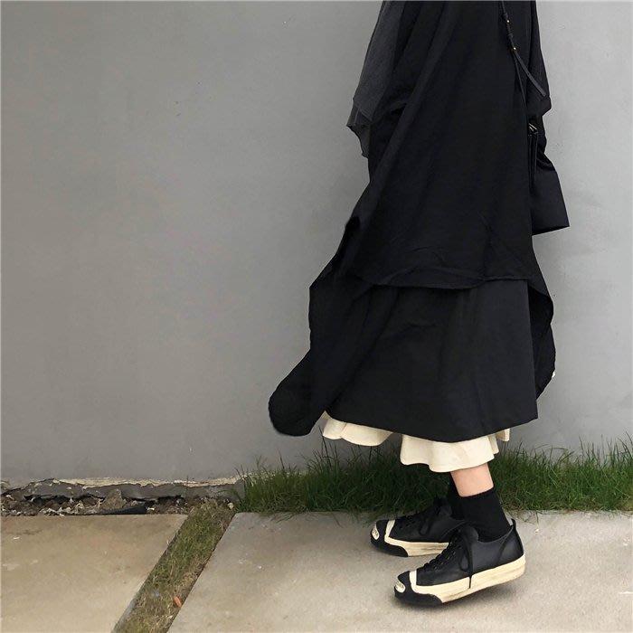 韓版AN2818暗黑鬆緊雙層中長裙半身裙/大碼休閒寬鬆時尚顯瘦修身設計款防曬禪風連身裙民族風復古單正品日韓款外套